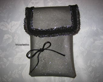 Hand made clutch bag or other uses in coated silver/black