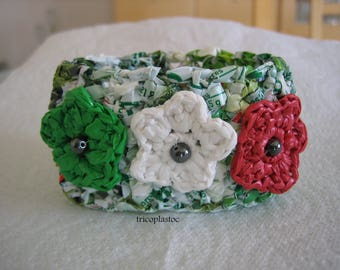 Spring cuff from plastic frozen vegetables, hippie Bohemian style, crocheted flower trio, upcycling