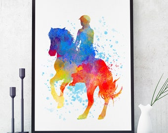 Horse Riding Gift, Equitation Art, Horse Riding Print, Horse Wall Art, Horse Riding Decor, Country Club Decor, Horse Riding Team (N066)