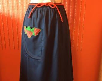 Vintage 70's strawberry appliqué navy blue skirt