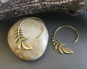 Leaf brass spiral earrings