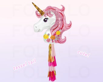 Iridescent Pink UNICORN Balloon   HUGE Unicorn Balloon   Unicorn Party Theme   Unicorn Balloon Decoration   Balloon Tassel Tail