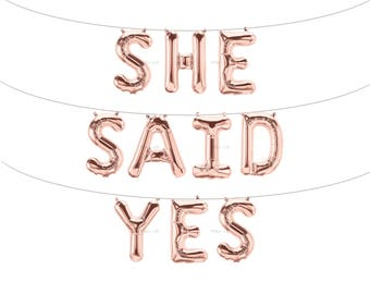 SHE SAID YES Rose Gold Letter Balloons | Metallic Letter Balloons | Rose Gold Party Decorations