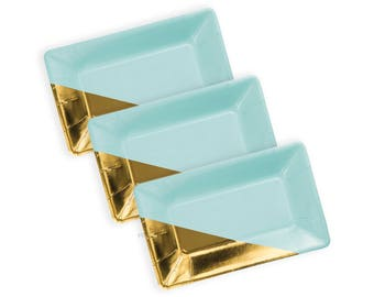 MINT AND GOLD Plates | Aqua Tone and Gold Metallic Foiled Plates | Cute Party Decoration | Size: 9 x 5.5 inches | Set of 8