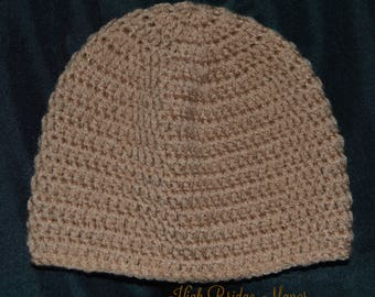 Men's tan crochet beanie, size medium men's fitted hat, men's warm winter hat