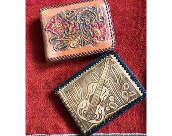 Leather Wallet Vintage Retro Boho Musician Flowers Guitar Sombero