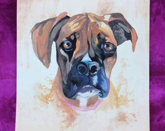 Boxer Watercolor Print, Boxer Painting, Boxer Watercolor Art Print, Home Decor, Dog Wall Art,  Dog Lover Gift