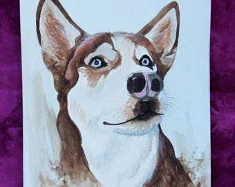 Siberian Husky ORIGINAL PAINTING, Husky painting, Husky Artwork, Original Artwork, Watercolor Painting