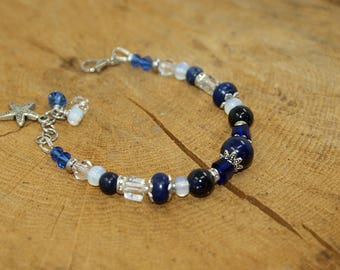 Lapis lazuli and Navy Blue Crystal bracelet and tansparent