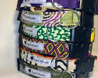 African Print Pet Collar // Adjustable Dog Collar // Wax Print Pet Collar // Colorful Print Dog Collar