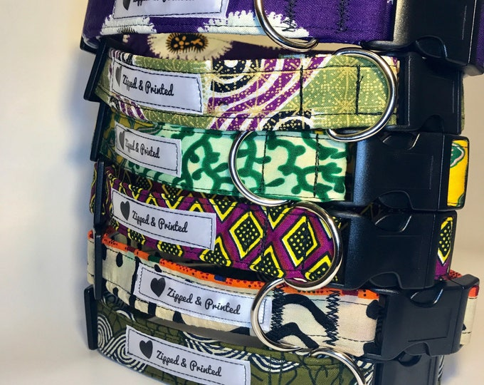 Featured listing image: African Print Pet Collar // Adjustable Dog Collar // Wax Print Pet Collar // Colorful Print Dog Collar