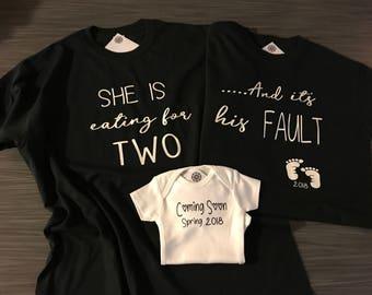 Pregnancy Announcement Shirt Set of 3