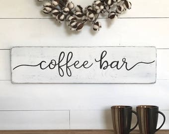 "Coffee sign | coffee bar |  wood sign | farmhouse wall decor | farmhouse sign | farmhouse kitchen decor | rustic wood sign | 28"" x 7.25"""