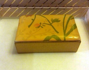 Brass and Enamel Yellow Match Box Holder with Floral Design