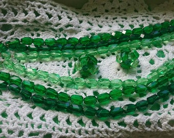 Vintage West Germany green beaded necklace and clip in earring set
