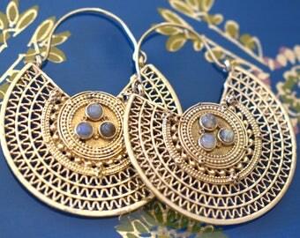 Labradorite Boho Golden Earrings