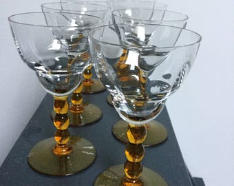 Six Brown stemmed Sherry glasses