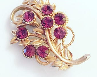 Vintage Brooch, Ladies Vintage Flower Brooch, Red Gemstone Brooch, Sparkling Brooch, Gift For Her