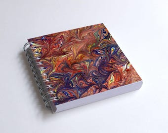 "Notebook 4x4"" decorated with motifs of marbled papers - 18"
