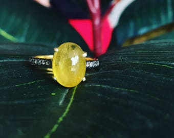 Yellow Tourmaline Ring,Yellow Tourmaline and Diamond Ring,Tourmaline Victorian  Ring,Tourmaline Ring,Natural Tourmaline Cabochon Ring,Gifts