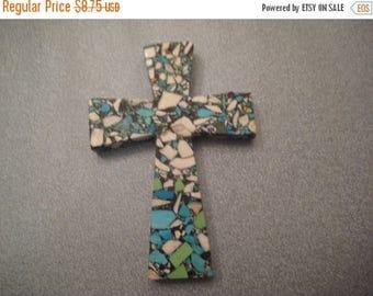 ON SALE 15% OFF Mosaic Turquoise Magnesite Large Cross Pendant 1 pc
