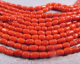 Red Bamboo Coral Barrel Beads 79pcs