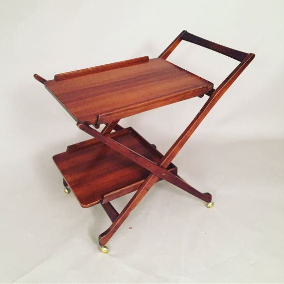 Mid-Century Danish teak wood cart on wheels