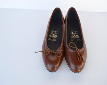 80s brown leather tictactoes slip on ballerina wedge shoes 8.5