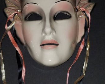 Vintage Clay Art Rare Theatrical Face with Silver Pink Wings Ceramic Masquerade Mask USA