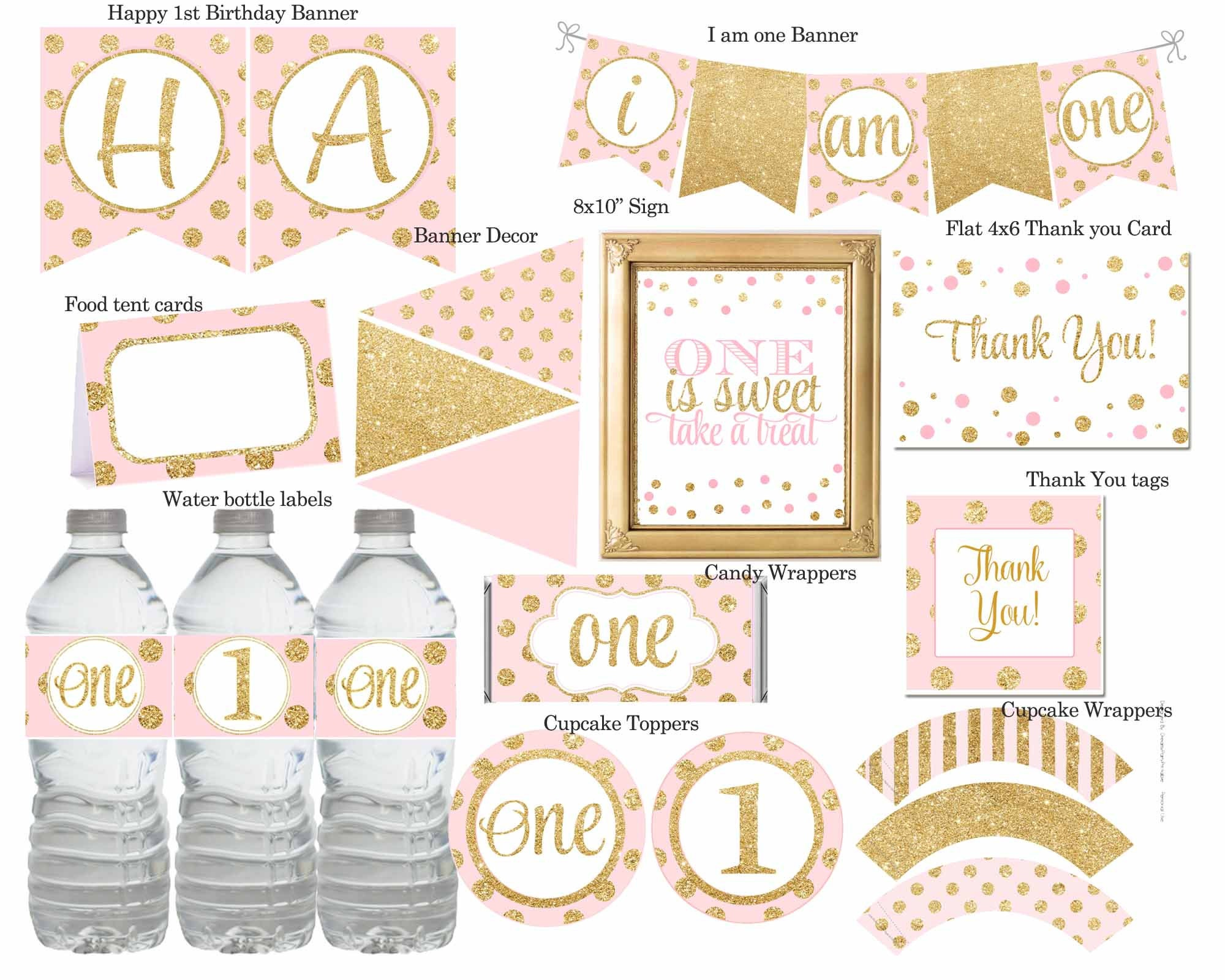 Pink and gold first birthday party package pink and gold 1st for 1st birthday decoration packages