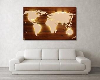 "World map Scott-""Walnut""-Real wood & lighting"