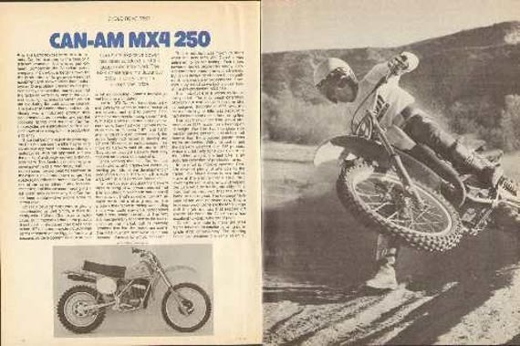 1978 Can Am MX4 250 Motorcycle Test 7-Page Photo Article #nba08