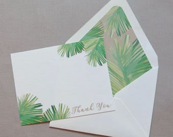 Palm Frond Thank You Notes - Personal Stationery - Coastal - Green and Tan Palm Fronds