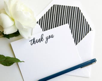 Black and White Personal Stationery - Thank You or Monogram Stationery - Thank You Note Cards - Black and White Marker Stripe