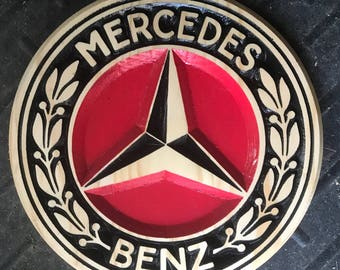 Mercedes Benz Carved Wooden Sign
