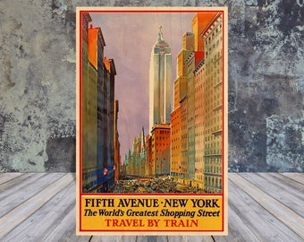 Wood Postcard, Vintage Travel Poster, Fifth Ave, 5th Avenue, New York, Postcard, New York, Postcard Sets, Wooden Gift, New York Postcard
