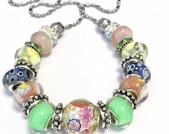 Pandora style Bead set 23 pieces large hole fits pandora biaggi summer pastels necklace or just the beads