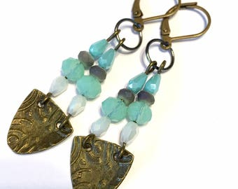 Chandelier Earrings blue green and white with antiqued brass