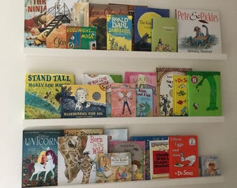 Nursery Shelf, Picture Book Shelf, Floating Shelf, Art Shelf, Picture Shelf, Display Ledge, Baby's Room, Gallery Shelf, Rustic Wooden Shelf