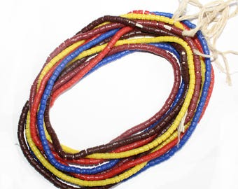 African Beads, Krobo Ghana Recycled Glass Glass, Handmade 4 mm
