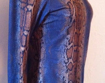 Blue and Brown Stretch Snakeskin Long Sleeve Top.  Size M fits 12