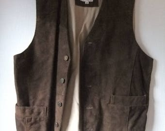 vtge hipster brown suede waistcoat sz m Gents 1990s
