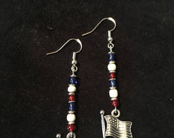 American flag dangle earrings