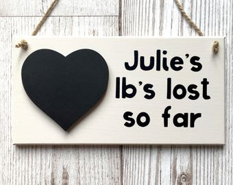 Personalised Weight Loss Plaque ~ Weight Loss Sign ~ Weight Loss Tracker ~ Diet Tracked ~ Diet Sign ~ Motivational Wall Art & Home Decor