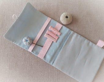 Put hair Clip Organizer portable grey star hair clip organizer blue