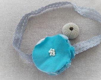 Blue flower headband hair flower blue headband - ninette barrettes