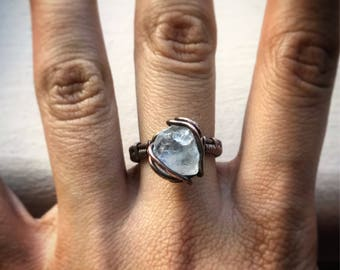 Celestite Wire Wrapped Ring- Size 6.5