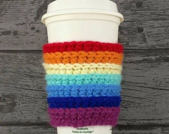 SALE Travel mug sleeve, rainbow cup cozy, takeaway mug cosy, coffee tea lover, commuter gift, teacher gift, eco gifts