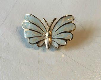 Vintage Mint Green Enamel & Gold Tone Butterfly Brooch