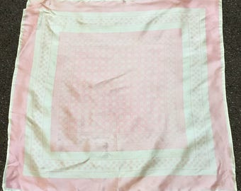 vintage Pink and White Flowered Twill Acetate Scarf